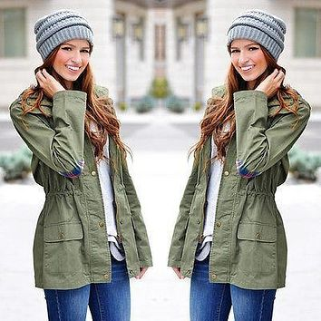 Women's Warm Fashion Hooded Long Coat Trench Coat Windbreaker Outwear