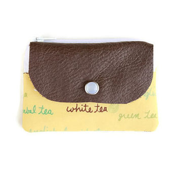 Yellow Tea Lover's Small Women's Wallet, Coin Purse & Card Holder