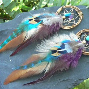 Fall grapevine earrings  dreamcatcher turquoise and amethyst  in native american inspired  tribal boho belly dancer and hipster style