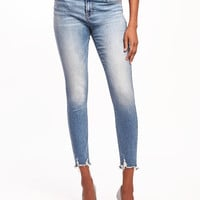 Mid-Rise Raw-Hem Rockstar Ankle Jeans for Women | Old Navy