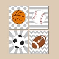 Sports Nursery Art, SPORTS Canvas or Prints, Baby Boy Nursery Wall Art, Sport Balls Decor, Soccer Football Baseball Basketball, Set of 4