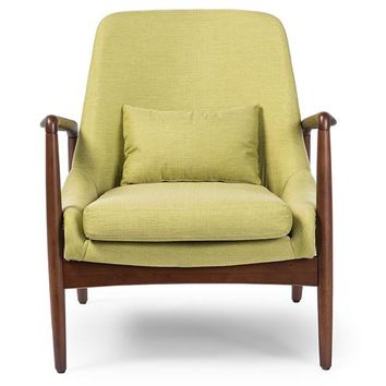 Baxton Studio Carter Mid-Century Modern Retro Green Fabric Upholstered Leisure Accent Chair in Walnut Wood Frame Set of 1