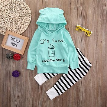Toddler Kids Baby Boy Clothes Set Cotton Hooded Tops Hoodies Milk Bottle Pants Casual Clothing Baby Girls Outfit 2PCS Set