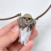 Steampunk, Realistic Hand Sculpted Skull Series Pendant, Quartz Crystal, Painted Clay, Leather Cord, Fantastic Pendant, Necklace
