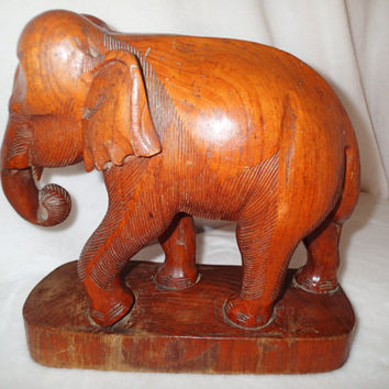 "Large Mid Century Wooden Elephant 13"" tall, Vintage Wood Elephant hand carved wood sculpture Office decor, home decor"
