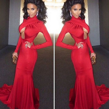 Red Halter Long Sleeve Front Cut Out Bodycon Maxi Dress