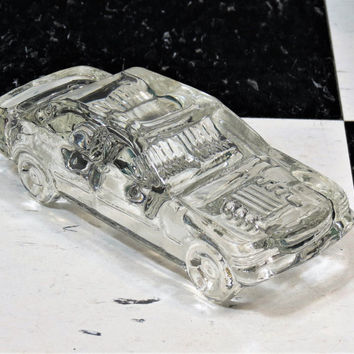 Hofbauer Lead Crystal Mercedes 190E Touring Car . Vintage Clear Glass . West Germany
