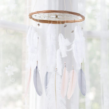 Peach, Grey and White Boho Baby Mobile - Blush Pink Dream catcher Mobile Boho Bohemian Baby Mobile Crib Mobile Nursery Baby Girl Baby boy