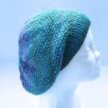 Knit Slouchy Beanie Hat - Adult or Teen - Teal multi