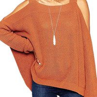 Orange Long Sleeve Sweater With Cold Shoulder and Split Sides