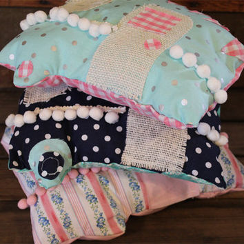 Handmade Camper Pillow- Glamping- Camping- Caravan- Travel Trailer- Glamp- Camp- Polka Dots- Pom Pom- Home Decor- Pink Flowers