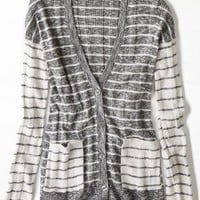 AEO Women's Real Soft Mixed Stripe Cardigan