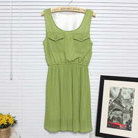 Graceful Chiffon Two Chest Pockets Pleated Tank Dress 4 Colors