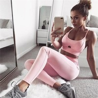 Hot Sale Pink Hollow Women Yoga Sets Gym Elastic Running Sport Suit Fitness Clothing Workout Sport Wear Sports Bra+Pant