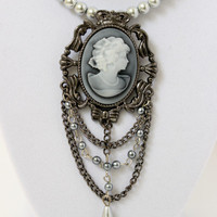 Romantic Gray and White Lady Cameo Pendant - Faux Pearl Beaded Necklace - Handmade Jewelry - Downton Abbey - Neo Victorian - Ready to Ship