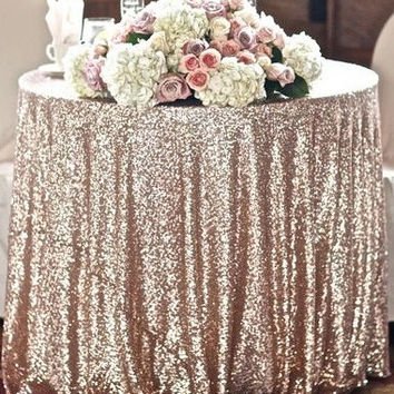 Ready to SHIP SALE Cake Table Sparkly Champagne Blush Sequin Cloth TableCloth Sequin Table Cloths Sparkly Champagne Table Sequin Linens