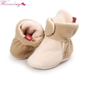 Unisex Baby Newborn Faux Fleece Booties Winter Warm Walker Shoes Infant Toddler Crib Shoes Classic Floor Boys Girls Boots