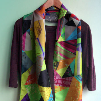 Geometric Design Silk Scarf, Designer Fashion Silk Scarf
