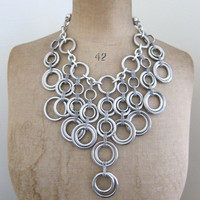 Vintage chunky silver ring and chain necklace with by evaelena