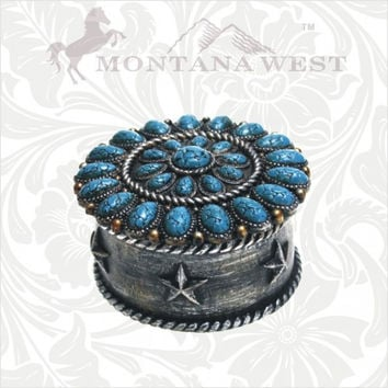 Turquoise Round Jewerly Box