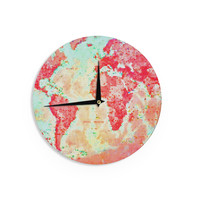 """Alison Coxon """"Oh The Places We'll Go"""" World Map Wall Clock"""