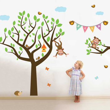 Tree and branch wall Decal for nursery with monkeys and banner style baby name,jungle animals decals-Removable and Reusable decal