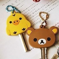 4Models Kawaii 4CM San-X Rilakkuma Bear Yellow Chicken Rubber KEY Wallet Wallet Holder ; Hook  Case Key BAG Wrap BAG Wallet