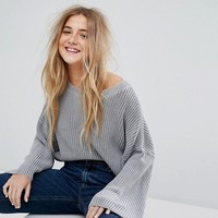 Pull&Bear Ribbed Crop Sweater at asos.com