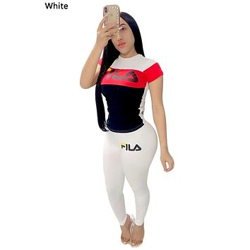 FILA 2019 new female color matching letter printing sports suit two-piece white