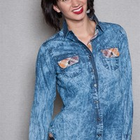 Fashion Web Acid Wash Denim Western Button Down Blouse With Plaid Trim - Blue