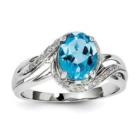 Sterling Silver Diamond And Oval Swiss Blue Topaz Ring