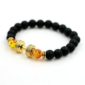 ANILLO Men Dumbbells Bracelets  Yellow Color Beads Matte Stone 8mm Alloy Barbell Fitness Dumbbells Women  Casual/Sporty Jewelry