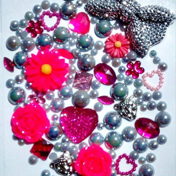 hot pink & silver   sequin bow  flowers decoden phonecase DIY kit iphone kawaii craft bling embelishments