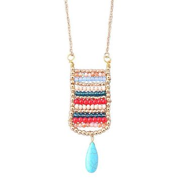 Cara Boho Beaded Pendant Necklace