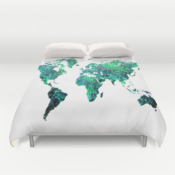 World Map green Duvet Cover by Haroulita