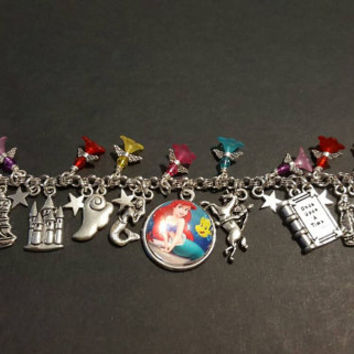 Disney the little mermaid inspired stainless steel charm bracelet