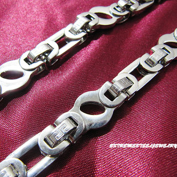 316L Stainless Steel Chain Necklace Flat & Oval Greek Key Link