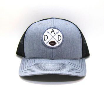 Sport Dad Hat - Gray and Black Snapback with Football Patch