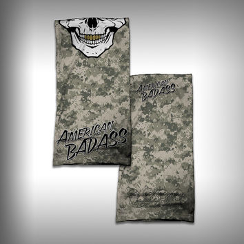 Monk Wrap Neck Gaiter - Face Shield - Bandana - Skull Badass