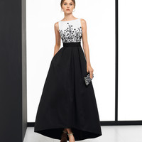 Exciting Satin Bateau Neckline Hi-lo A-line Evening Dress With Beaded Embroidery & Pockets F3582