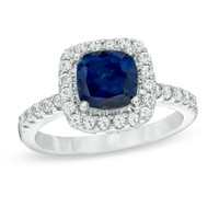 7.0mm Cushion-Cut Lab-Created Blue and White Sapphire Frame Ring in Sterling Silver - Size 7