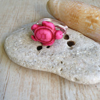 Turtle Ring, Pink , Size 7, Sea Turtle Ring, Beach Jewelry, Other Colors Available