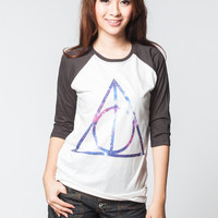 Galaxy Deathly Hallows T Shirts Harry Potter Hogwarts Baseball Tee Shirt Jersey Raglan Long Sleeve Unisex Women Shirt Size S M L XL