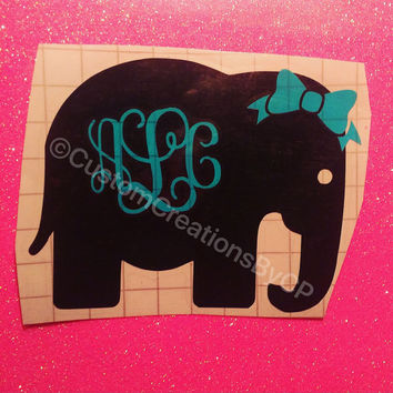 Elephant with Bow Monogram