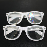 Rhinestone, 3D (Optional), Clear Lens Hipster Wayfarer Glasses Perfect for Raves, Parties, Festivals