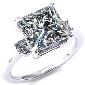 Poppy Princess/Square Moissanite 4 Claw Prong 2 Rail Basket Round Sidestones Inverted Cathedral Engagement Ring