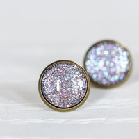 Purple Holographic Glitter Glass Earrings