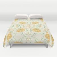 Yellow spring flowers Duvet Cover by Jennifer Rizzo Design Company | Society6