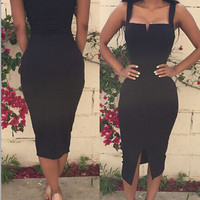 Black Sweetheart Neck Sleeveless Bodycon Midi Dress with Front Slit