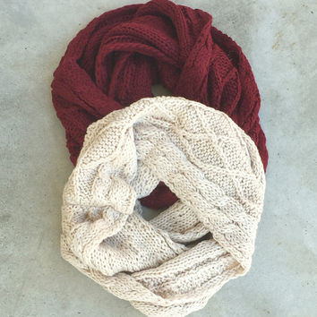 Whistler Cable Knit Infinity Scarf